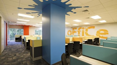 Splashes of colour and spray painted graphics enliven ceiling, interior design, office, orange
