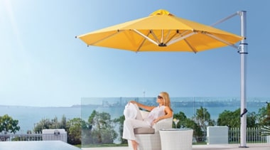Riviera Cantilever Umbrella - leisure | shade | leisure, shade, sky, umbrella, vacation, yellow, white, teal