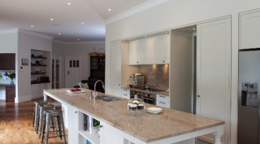 Epsom - ceiling | countertop | floor | ceiling, countertop, floor, flooring, hardwood, interior design, kitchen, laminate flooring, real estate, room, wood flooring, gray, brown