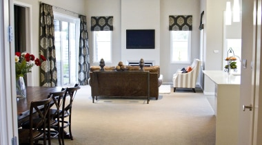 Bright white dining area for families in Glentui floor, flooring, furniture, interior design, living room, real estate, room, gray