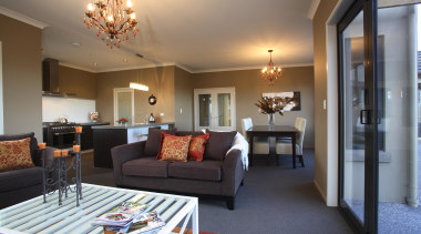 Elegant family dining area in Rotoite - Landmark ceiling, home, interior design, living room, real estate, room, suite, gray