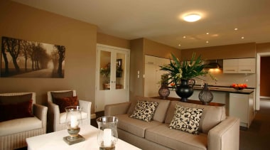 Dining and living area for families in Temuka ceiling, home, interior design, living room, property, real estate, room, brown