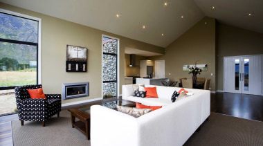 Living and dining area for families in Wakatipu architecture, ceiling, estate, floor, home, house, interior design, living room, property, real estate, room, gray