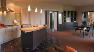 Kitchen and dining room in Waverly - Landmark countertop, flooring, interior design, kitchen, real estate, room, brown