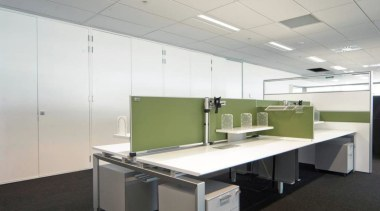 Aspect Furniture Systems provided partitioning, workstations and mobile ceiling, desk, floor, furniture, interior design, office, real estate, gray