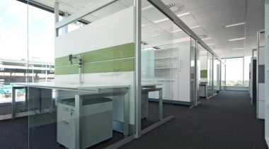 Aspect Furniture Systems' furniture is made in New daylighting, floor, glass, office, white, black