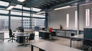 The package included a Manhattan desking range with ceiling, furniture, interior design, office, gray, black