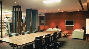 Amstar Interiors was asked to carry out a ceiling, conference hall, flooring, furniture, interior design, lobby, office, table, brown, black
