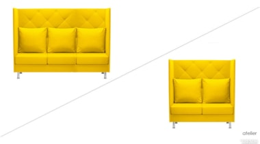 Vibrant Atelier office sofas bring life to an chair, couch, furniture, orange, product, yellow, white