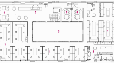 1 studio, 2 printing room, 3 lightwell, 4 area, design, diagram, drawing, floor plan, font, line, pattern, text, white