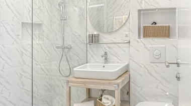A campact small bathroom can be stylish - architecture, bathroom, bathroom accessory, ceramic, floor, flooring, furniture, interior design, marble, material property, plumbing fixture, room, shelf, tile, toilet, wall, white, white