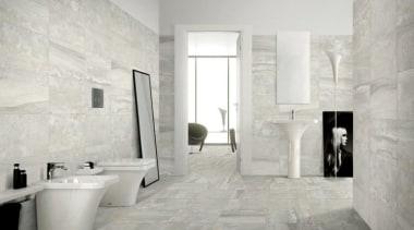 Stone Blend - Stone Blend - bathroom | bathroom, floor, flooring, home, interior design, property, room, tile, wall, wood flooring, gray