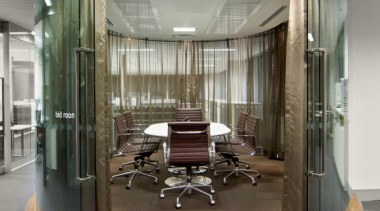 With operable curved glass doors, the bid room glass, lobby, gray