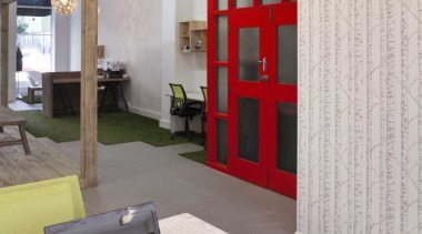 Workspace with wooden motive wallpaper - Workspace - furniture, interior design, office, gray