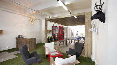 Workspace with green carpet and wooden feature ceiling, interior design, loft, property, real estate, gray