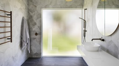 Mottled, hexagonal tiles bring a soft focus effect