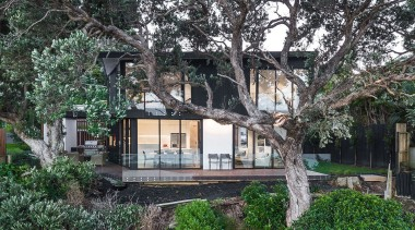 Highly Commended – Creative Arch – 2018 TIDA cottage, estate, home, house, outdoor structure, plant, property, real estate, residential area, tree, villa, black