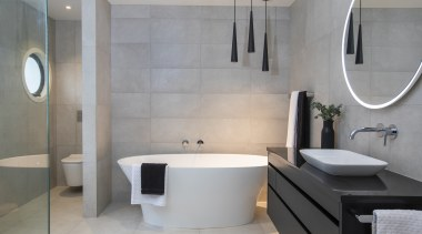 Bathrooms by Elite – Highly Commended – TIDA bathroom, floor, interior design, plumbing fixture, room, sink, tap, tile, wall, gray