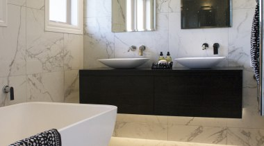Design Haus – Highly Commended – TIDA New bathroom, ceiling, floor, flooring, home, interior design, room, sink, tile, wall, gray