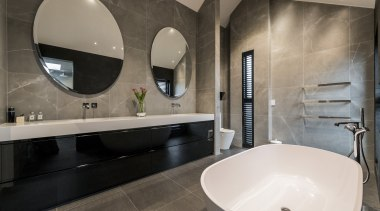 Eternodesign – Highly Commended – TIDA New Zealand architecture, bathroom, floor, interior design, property, room, sink, tap, tile, gray, black