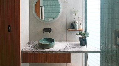 Finalist – 2019 TIDA Australia Bathrooms – CplusC architecture, bathroom, bathroom accessory, bathroom cabinet, bathroom sink, building, ceramic, floor, furniture, glass, house, interior design, material property, plumbing fixture, property, room, sink, tap, tile, toilet, turquoise, gray, white