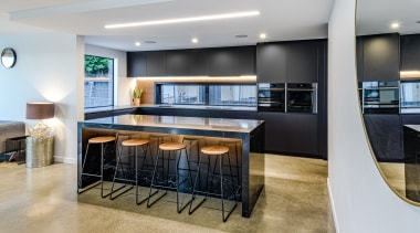 Highly Commended – Kirsty Davis Kitchen Design – apartment, architecture, building, cabinetry, ceiling, condominium, countertop, design, dining room, floor, flooring, furniture, home, house, interior design, kitchen, living room, property, real estate, room, table, gray