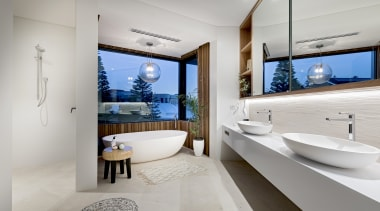2019 TIDA Australia Bathroom Suite Finalist – Urbane architecture, bathroom, bathroom cabinet, bathtub, building, ceiling, floor, furniture, home, house, interior design, plumbing fixture, property, real estate, room, sink, tap, tile, wall, gray