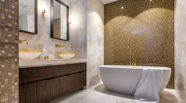 Detail by Davinia Sutton – Winner – 2019 architecture, bathroom, bathtub, building, ceiling, ceramic, floor, flooring, interior design, limestone, marble, plumbing fixture, property, room, tap, tile, wall, gray, brown