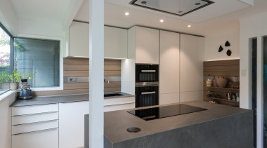Highly Commended – Lara Farmillo – Akzente / architecture, building, cabinetry, ceiling, countertop, floor, flooring, furniture, glass, home, house, interior design, kitchen, lighting, property, real estate, room, wall, window, gray