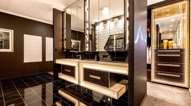 2019 TIDA Australia Bathroom Suite Finalist – Ultraspace apartment, architecture, building, cabinetry, ceiling, countertop, design, floor, flooring, furniture, hardwood, home, house, interior design, kitchen, living room, loft, property, real estate, room, table, orange, brown