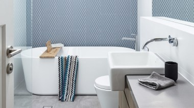 Bijl Architecture – Highly Commended – 2019 TIDA architecture, bathroom, bathroom accessory, bathroom sink, bathtub, ceramic, floor, flooring, furniture, interior design, material property, plumbing fixture, product, property, room, sink, tap, tile, wall, window covering, gray, white