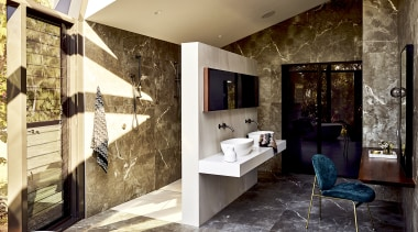 2019 TIDA Australia Bathroom Suite Finalist – Darren architecture, bathroom, building, ceiling, design, floor, flooring, furniture, home, house, interior design, living room, loft, property, real estate, room, tile, wall, brown