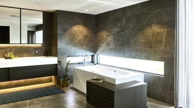 2019 TIDA Australia Bathroom Suite Finalist – Darren architecture, bathroom, bathtub, building, cabinetry, ceiling, countertop, floor, flooring, furniture, home, house, interior design, material property, plumbing fixture, property, room, sink, tap, tile, wall, white, black