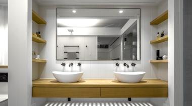 Hither Consulting – Winner – 2019 TIDA Australia architecture, bathroom, bathroom accessory, bathroom cabinet, bathroom sink, building, ceiling, floor, furniture, interior design, material property, plumbing fixture, property, room, sink, tap, tile, gray, white