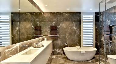 Dunlop Design – Winner – 2019 TIDA New architecture, bathroom, bathtub, building, ceiling, design, floor, flooring, furniture, home, house, interior design, marble, plumbing fixture, property, real estate, room, tap, tile, wall, orange, brown