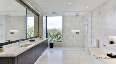 Dunlop Design – Highly Commended – 2019 TIDA architecture, bathroom, bathtub, building, ceiling, countertop, floor, flooring, furniture, home, house, interior design, marble, material property, plumbing fixture, property, real estate, room, sink, tap, tile, wall, gray