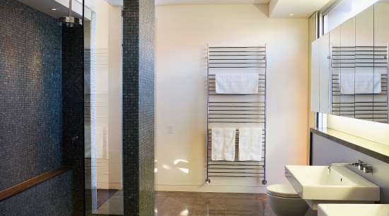 Drainage slots in the floor and a toughened architecture, bathroom, ceiling, daylighting, floor, flooring, interior design, lobby, real estate, room, tile, wood flooring, gray, brown