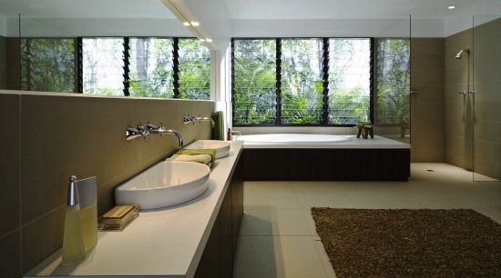 A view of this contemporary bathroom featuring Drf architecture, bathroom, daylighting, house, interior design, room, window, gray, black
