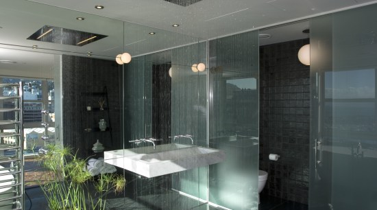 View of bathroom designed by architect Angela Foster architecture, bathroom, ceiling, daylighting, glass, house, interior design, gray, black
