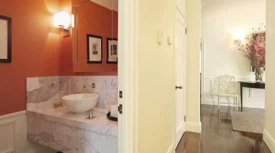 View of powder room with a marble vanity architecture, bathroom, ceiling, estate, floor, flooring, hardwood, home, interior design, laminate flooring, property, real estate, room, tile, wall, wood flooring, orange