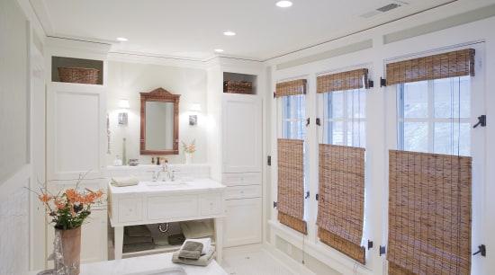 Image of a bathroom designed by an NKBA bathroom, estate, floor, home, interior design, property, real estate, room, window, gray