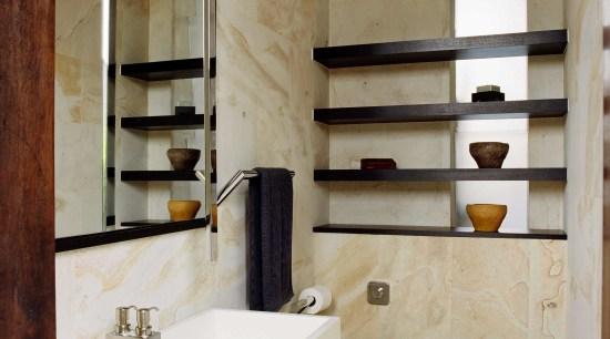 This bathroom was designed to service an outdoor bathroom, interior design, room, sink, gray, brown