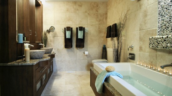 Image of this renewly remodelled bathroom. Featuring two bathroom, estate, home, interior design, property, room, suite, orange