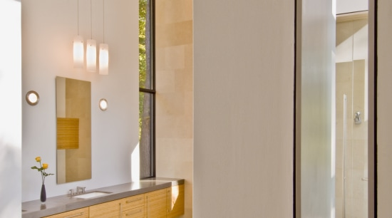 The vanity area is spacious and light, it architecture, bathroom, floor, flooring, home, house, interior design, wall, gray