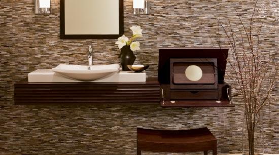 Image of high-end bathroom products available at The coffee table, floor, flooring, furniture, hardwood, interior design, laminate flooring, living room, table, tile, wall, wood, wood flooring, brown, orange