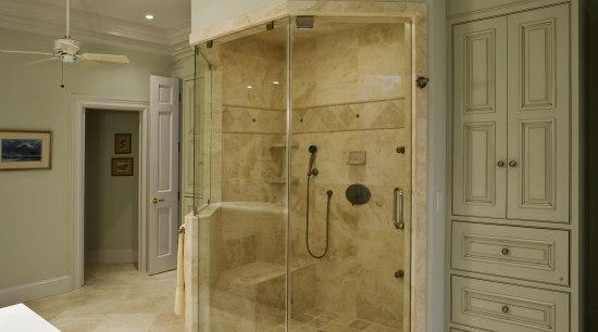 Image of a bathroom designed by an NKBA bathroom, floor, flooring, home, plumbing fixture, room, shower, tile, brown