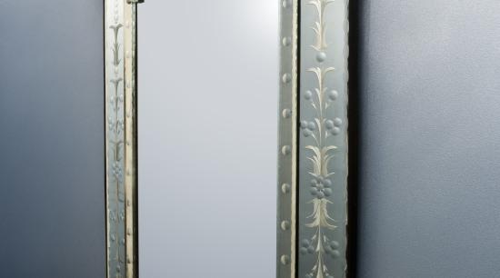 Powder room, featuring a Venetian mirror and blue mirror, gray