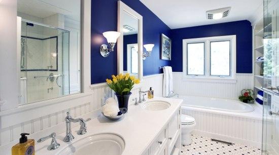 Image of bathroom featuring crisp white cabinets cantrasted bathroom, blue, estate, home, interior design, real estate, room, window, white, gray, blue, teal, orange