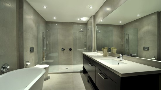 View of a bathroom which features several surfaces architecture, bathroom, ceiling, countertop, estate, interior design, property, room, sink, green