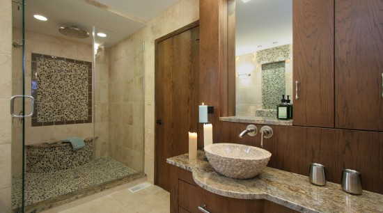 Image of bathroom which has beenn designed with bathroom, estate, home, interior design, real estate, room, brown